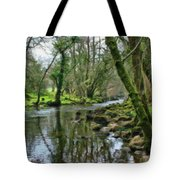 Misty Day On River Teign - P4a16017 Tote Bag