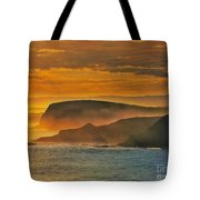 Misty Island Sunset Tote Bag