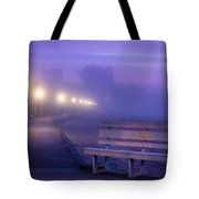 Misty Morning Boardwalk Tote Bag