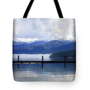 Misty Morning On Priest Lake Tote Bag