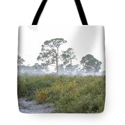 Misty Morning On The Trail Tote Bag