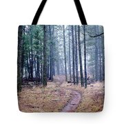 Misty Morning Trail In The Woods Tote Bag