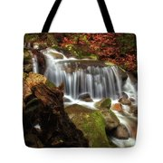 Misty Morning Waterfall Tote Bag