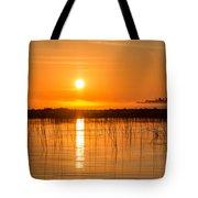 Misty Orange Sunrise On Boy Lake Tote Bag