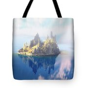 Misty Phantom Ship Island Crater Lake Tote Bag