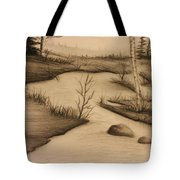 Misty River Tote Bag by Ricky Haug