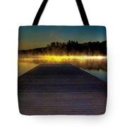 Misty Sunrise On Old Forge Pond Tote Bag