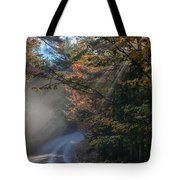 Misty Turn In The Road Tote Bag