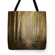 Misty Woodland Path Tote Bag by Meirion Matthias