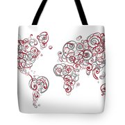 Mit University Colors Swirl Map Of The World Atlas Tote Bag