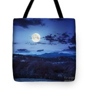 Mixed Forest Near Valley In Mountains  On Hillside At Night Tote Bag