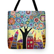 Mixed Media Collage Tree And Houses Tote Bag