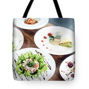 Mixed Modern Gourmet Fusion Food Dishes On Table Tote Bag