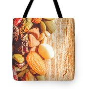 Mixed Nuts On Wooden Background Tote Bag