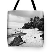 Moalboal Cebu White Sand Beach In Black And White Tote Bag