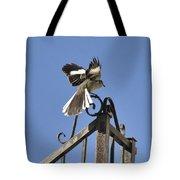 Mockingbird Landing On Fence Tote Bag