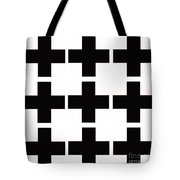 Mod Black And White Swiss Cross Mid Century Modern Design Tote Bag