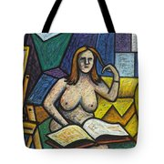 Model In Studio With Book Tote Bag