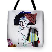 Model With Fashion Hat And Chawl Tote Bag