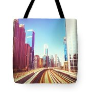 Modern Architecture Of Dubai Seen From A Metro Car. Tote Bag