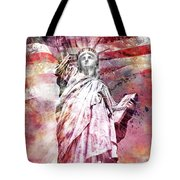 Modern-art Statue Of Liberty - Red Tote Bag