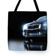 Modern Black Metallic Sedan Car In Spotlight. Banner Tote Bag