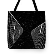 Modern Building With Star Tracks Night Photography Tote Bag