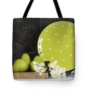 Modern Green And White Polka Dot Kitchen Tote Bag