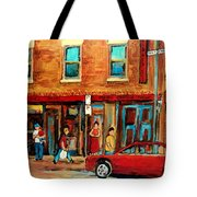 Moishes Steakhouse On The Main By Montreal Streetscene Painter Carole  Spandau  Tote Bag