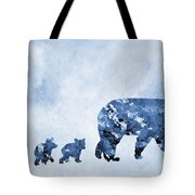 Mom And Baby Bears-blue Tote Bag