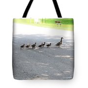 Mom And Her Ducklings Tote Bag
