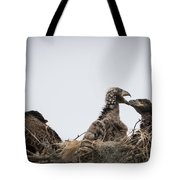 Mom And Little Eaglets Tote Bag