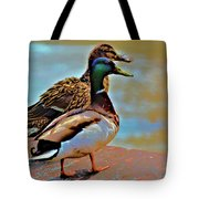 Mom And Pop At The River Tote Bag