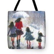 Mom Three Daughters Rain Tote Bag