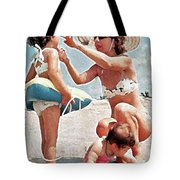 Mom With Girls At Beach Tote Bag
