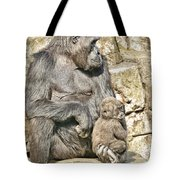 Momma And Baby Gorilla Tote Bag