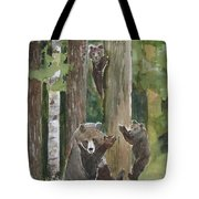 Momma With 4 Bear Cubs Tote Bag