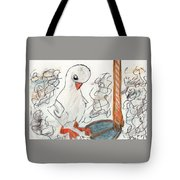 Duckling At Mom's Feet Tote Bag