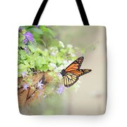 Monarch And Garden Basket Tote Bag