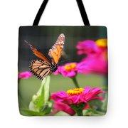 Monarch Approaching Zinnia 2 Tote Bag