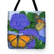 Monarch Butterflies And Hydrangeas Tote Bag