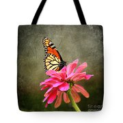 Monarch Butterfly And Pink Zinnia Tote Bag