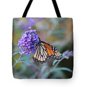 Monarch Butterfly And Purple Flowers Tote Bag