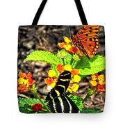 Monarch Butterfly And Zebra Butterfly Tote Bag