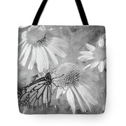 Monarch Butterfly In Black And White Tote Bag