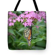 Monarch Butterfly On Pink Flowers  Tote Bag