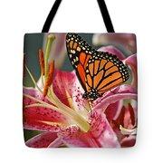 Monarch On A Stargazer Lily Tote Bag