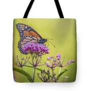 Monarch On Pink Flower Tote Bag