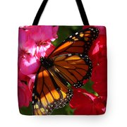 Monarch On Summer Geraniums Tote Bag