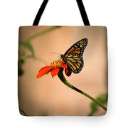 Monarch On Zinnia Tote Bag